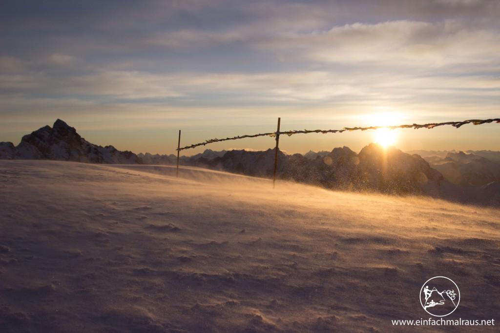 Sonnenaufgang auf der Zugspitze, www.einfachmalraus.net